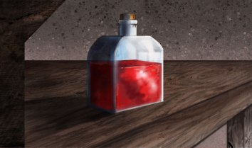 This one is red. It is a red potion. A red potion for a tabletop gaming session. It tastes like bananas. Red bananas.